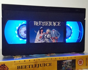 Retro VHS Lamp Beetlejuice Scifi Night Light Table Lamp, Horror Movie . Order any movie! Great personal gift. Man Cave. Office, Mothers Day