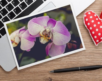Orchid Note Card, Blank Greeting Card, Photo Greeting Card, Floral Card, Note Card, Floral Photo Notecard, Orchid Stationery, Blank Notecard