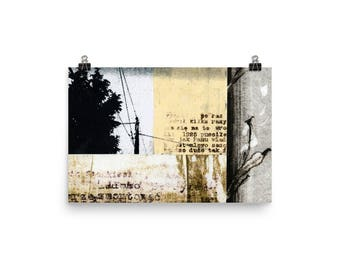 Art Print, CROSSED WIRES, collage art