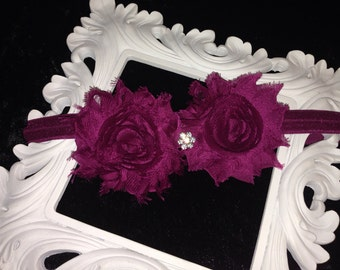 Babies Plum Head Band Hair Bow Shabby Chic Rose Vintage Birthdays Photo Props Parties