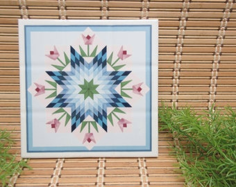 Quilt Design Ceramic Tile Trivet Wall Hanging Flowers Star Blue Pink Green White Blue Lone Star Pattern Nature Vintage FREE SHIPPING (780)