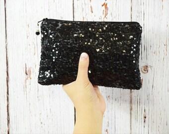 Black Sequin Clutch- Bridesmaid Clutch- Bridesmaid Gift- Clutch Bag- Clutch - Bridesmaid Proposal- Bridal Clutch- Maid of Honor Gift- Custom