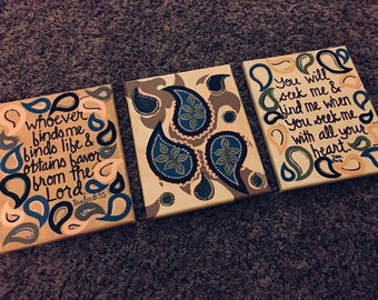 Paisley Bible Verse Canvases