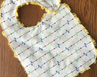 Retro Ribbon and Flower Minky Baby/Toddler Bib