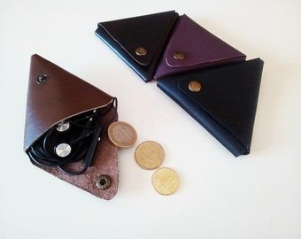 Small coin purse leather triangle closure pressures - choice of colours
