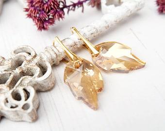 Gold leaf earrings Champagne bridal leaf earrings Champagne bridesmaid earrings Rose gold Swarovski crystal leaf earring bridesmaid gift 1