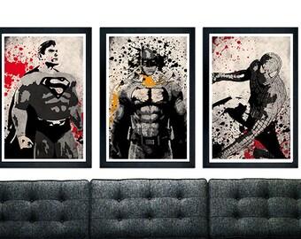 Superhero Trilogy Poster Set, Spiderman, Batman, Superman.
