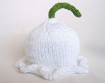 Lily of the Valley Knit Cotton Baby Hat great photo prop