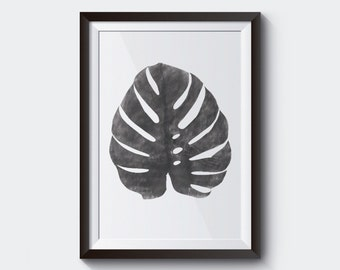 Monstera Leaf Print, Black & white, Modern Minimal Botanical Wall Art, Large Printable Poster, Digital Download.