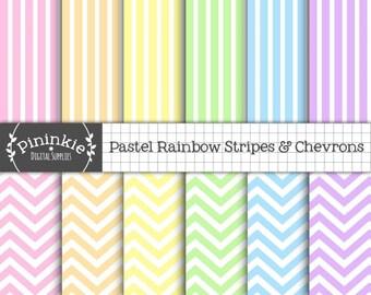 Pastel Chevron Scrapbook Paper Digital, Rainbow Digital Paper Pack, Pastel Striped Paper, Instant Download, Commercial Use