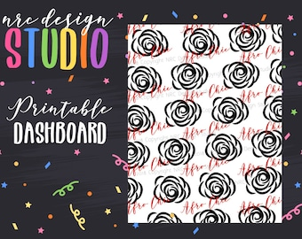 SALE Planner Dashboard Printable, Afro Chic, Roses Digital Paper, Printable Planner Paper - Afro Chic No. 02