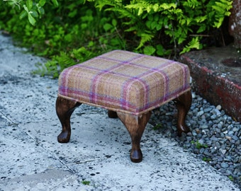 Small Plaid Handmade Upholstered Footstool - Hand Carved Queen Anne Legs - Heritage Berry