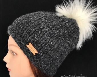 Knit Beanie with faux fur Pom pom - Knit slouchy beanie - Knit Toque - Pom Beanie -  Gift for her - Christmas - Under 30 gift