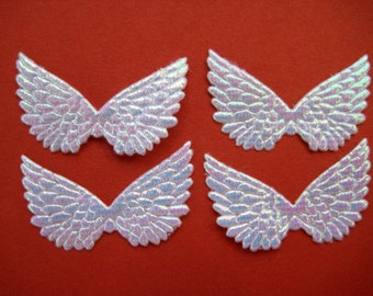 """Small WHITE Iridescent Angel Wings, Fairy Wings for Angel Invitations, Scrapbooking, Crafting, Collage Altered Art, 1.5"""" 12 or 36 pieces"""