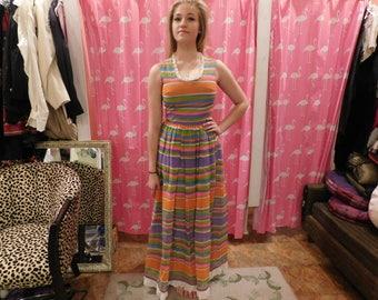 1970's Strip dress / hand made/ hippy/ maxi dress/