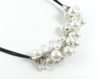 Collier cuir et perles