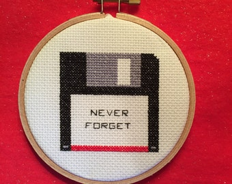 Never Forget Floppy Disk Cross-Stitch
