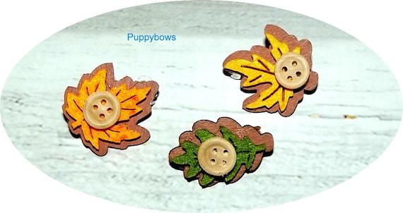Puppy Bows ~FALL AUTUMN leaf barrette dog bow multi colors ~USA seller   (fb28)
