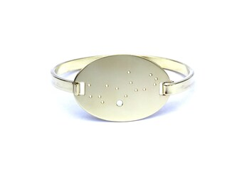 Virgo High Polished Raw Brass Zodiac Constellation Oval Bracelet