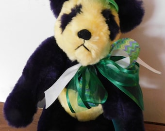 SALE Handcrafted Mardi Gras Panda 19 Inches Tall, Faux Fur, Fully Jointed