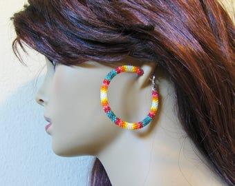 Seed Bead Hoop Earrings - Stud Earrings - Jewelry - Earrings - Womens Earrings - Hoop Earrings - Hoops - Beaded Earrings - Peyote Beaded