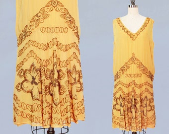 1920s Dress / 20s Flapper Dress BEADED Silk Chiffon / M L