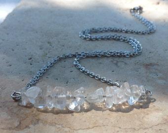 Natural Quartz Crystal Bar Necklace