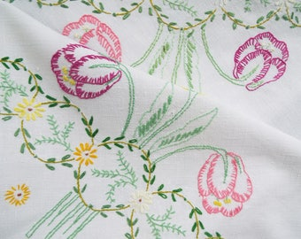 Vintage Square Tablecloth. A Hand Embroidered White Linen Tablecloth With Purple, Pink And Yellow Tulips. Perfect for an afternoon tea party