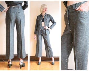Early 1970s Suit // Wool Studded 2pc Suit // vintage 70s suit