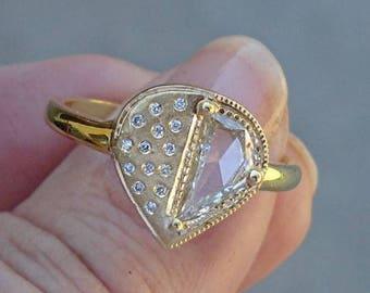 Unique 0.50 Carat Pear Shaped Diamond Ring - 18K Matte Yellow Gold