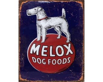 Melox Dog Food Vintage Advertising Enamel Metal TIN SIGN Wall  Plaque