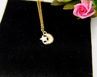 Gold Crescent Moon Star Charm Necklace, Crescent Moon Star Charm Necklace, Crescent Moon Star Charm, Half Moon Charm, Moon Charm, N252