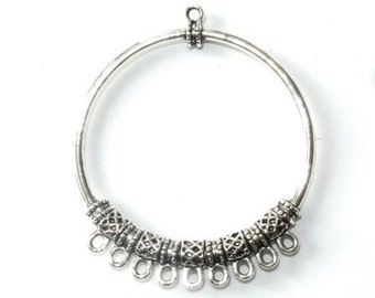 Large round charm 9 rings in silver, diameter 45mm