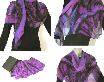 Purple Silk Scarf, Large square Scarf, Hand Painted Shawl, Unique Chiffon Wrap, Purple Lavender, , Artisan Handmade, Hand Dyed, Jossiani