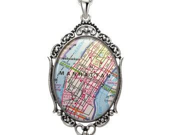 Map Pendant Downtown Manhattan NY Oval Filigree Pendant New York City Necklace Art Pendant Photo Pendant Graphic Pendant