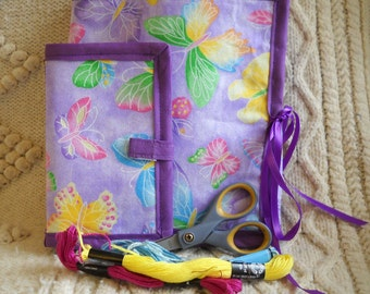 Purple Butterflies Sewing Caddy, Needle Book Hand Sewing Organizers