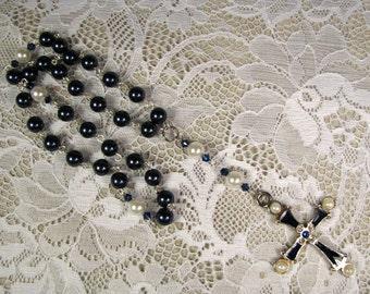 Anglican Prayer Beads-Rosary-Blue-Swarovski Crystal Pearls