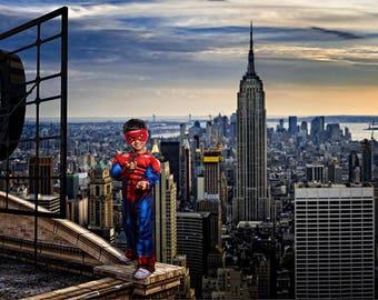 Digital Backdrop, Superhero Rooftop Background, Spiderman Inspired Digital Background, Superhero Backdrop, Cosplay Background, Cityscape