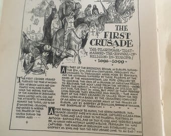 The First Crusade Knights Templar 1933 book page history print illustration . Art frameable history