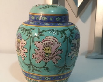 vintage ginger jar, gorgeous, heavy, blue with flowers