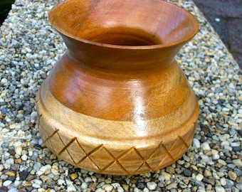 Woodwork. Hand turned vase. Etched rose butternut vase.