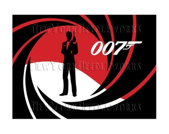 James Bond 007 Cross Stitch, 007 Cross Stitch, James Bond, Silhouettes, Modern Cross Stitch, 007, People from NewYorkNeedleworks on Etsy
