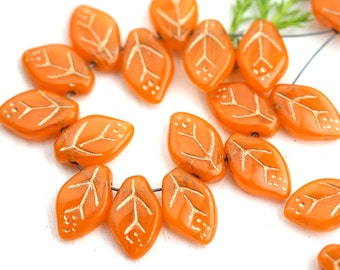 12x7mm Orange Leaf beads, Golden Inlays, Czech glass pressed leaves, top drilled - 25Pc - 0360