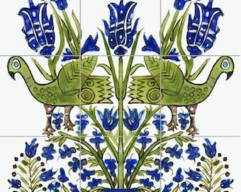 Persian Bird of Paradise Decorative Tile Mural Ceramic Back Splash Artistic Kitchen Bath