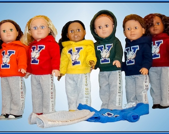 """Custom Colors & Logo on Hoodies for American Girl Doll or American Boy 18"""" Doll Clothes Add School Name n Image or Sports Team Name n Loq"""