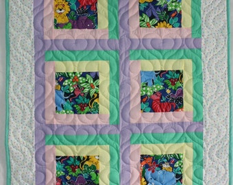 Baby Quilt with Animals, Baby Blanket, Handmade Quilt, Crib Blanket, Baby Shower Gift, Crib Quilt, Boy Quilt, Girl Quilt, Q019-Baby Quilt
