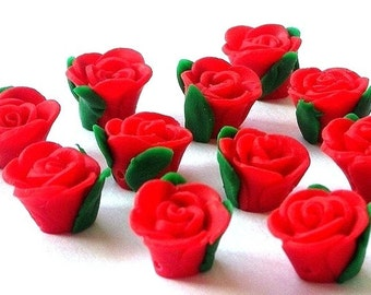 8 red rose polymer clay flower beads, about 15mm x 9mm