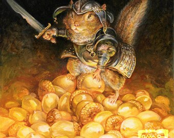 The Golden Hoard (print) - chipmunk, acorn, guard, knight, armor, nuts, artwork, illustration