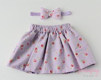 Lilac Skirt, Floral Skirt, Cotton Skirt, Girl's Lilac Skirt, Baby Skirt, Toddler Skirt, Skirt Set, Baby Girl Skirt, Girl's Floral Skirt Set