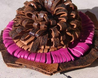CREATION! 1 BEAUTIFUL FLOWER LEATHER ROSE AND BROWN LEATHER FLOWER 9 CM